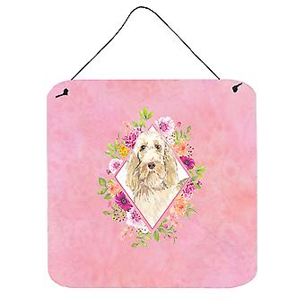 Spinone Italiano Pink Flowers Wall or Door Hanging Prints