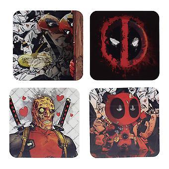 Marvel Táers Deadpool kmity obrázky sada 4 potažená z korku. v dárkovém balení.