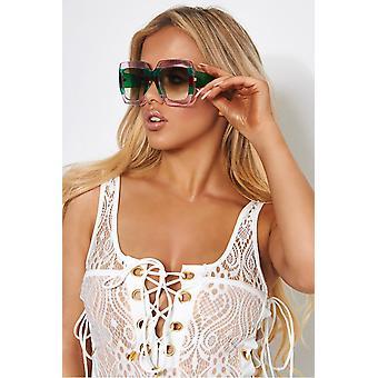 Roma Green & Red Square Sunglasses