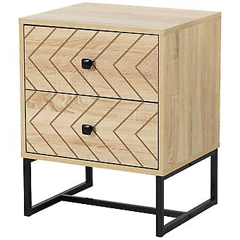 HOMCOM Bedside Table Nightstand Two-Draw Bedroom Storage Unit Unique Zig Zag Design w/ Black Metal Handles Melamine Finish