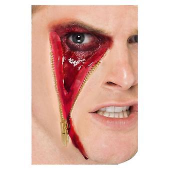 ZIP-Gesicht Narbe Make Up Halloween Fancy Dress Zubehör