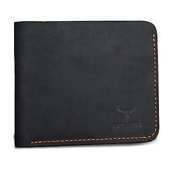 Black horizontal leather slim men's wallet & gift bag