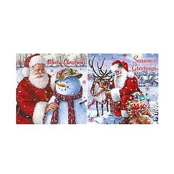 Eurowrap Christmas Acetate Cards With Santa Designs (Box With 24 Packs Of 12 Greetings Cards)