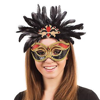 Bristol Nyhet Unisex Voksne Paljett Karneval Øye Maske Med Fjær