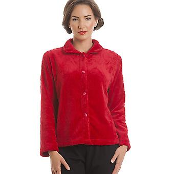 Camille Luxury Supersoft Red Button Up Fleece Bed Jacket