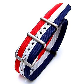 Strapcode n.a.t.o watch strap 18mm, 20mm or 22mm nato french flag nylon watch strap brushed (france, luxembourg, netherlands, iceland, czech republic)