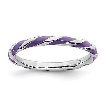 925 Sterling Silber poliert Rhodium vergoldet twisted purple Emailliert 2,4 x 2,0 mm stapelbare Ring Schmuck Geschenke für Frauen -