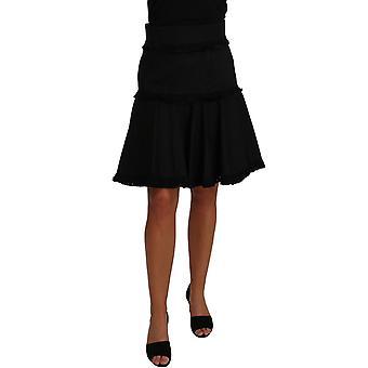 Dolce & Gabbana A-Line Black Fringes Pleated Skirt -- PAN6231216