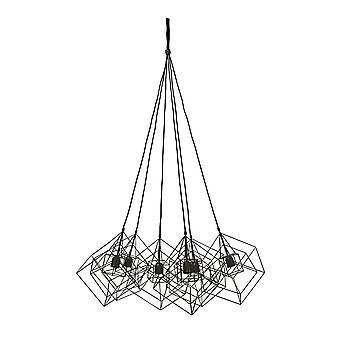 Lys og levende hængende lampe 6L 25x25x26cm Kubinka sammenfiltret sort