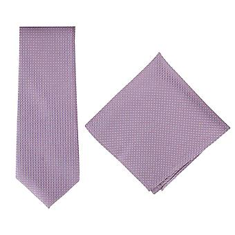 Michelsons of London Textured Geo Silk Tie and Pocket Square Set - Pink