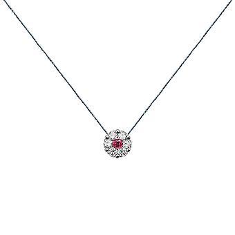 Collier duchesse Diamants complets sur Ruby et 18K Or, On Thread - Or blanc, Pluie