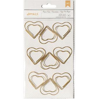 American Crafts Designer Desktop Essentials Jumbo Heart Shaped Paper Clips, 9pk