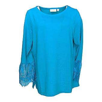 Belle by Kim Gravel Women's Top Lace Trim Bell Sleeve Tee Blue A310242