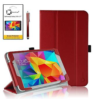 InventCase Samsung Galaxy Tab 4 7.0 Tablet (7 inch) 2014 Smart Multi-Functional PU Leather Case Cover - Red