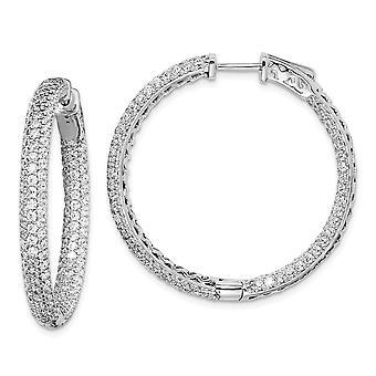 925 Sterling Silver Pave Polido Arco Articulado Rhodium banhado .75 polegadas de diâmetro CZ Cubic Zirconia Simulado Diamond Hoop