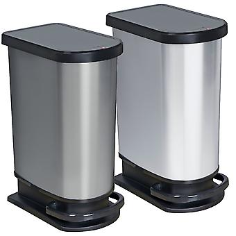 ROTHO Pedal bucket PASO 50 litre silver metallic | Garbage bins for easy waste disposal