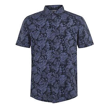 SoulCal Mens Camisa impressa de manga curta camisa dobrada gola completa de fixação de botão