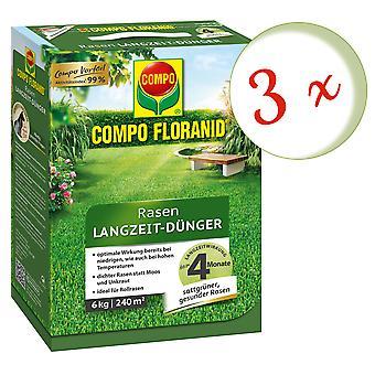 Sparset: 3 x COMPO Floranid® Long-term lawn fertilizer, 6 kg