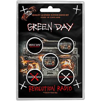 Green Day Badge Pack Revolution Radio Band logo new Official 5 x Pin Button