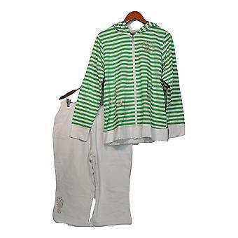 Quacker Factory Set Striped Zip Front Jacket & Pant White/ Green A275302