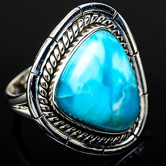 Large Larimar Ring Size 7.25 (925 Sterling Silver)  - Handmade Boho Vintage Jewelry RING12088