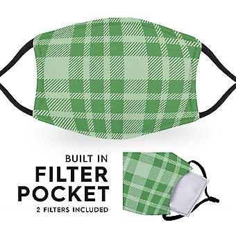 Green Tartan - Reusable Childrens Face Masks - 2 Filters Included
