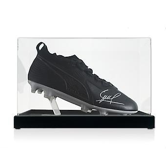 David Silva Signed Football Boot. In Display Case