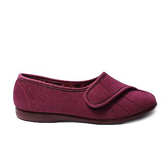 GBS Audrey Heather Velour Femmes Réglable Rip Tape Slippers