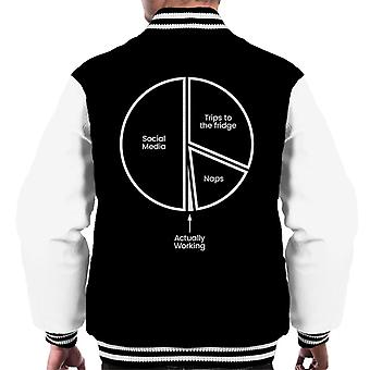 Working From Home Pie Chart Men's Varsity Jacket