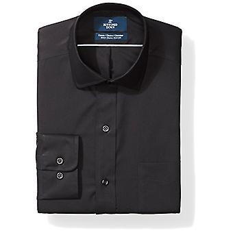 BUTTONED أسفل الرجال & ق الكلاسيكية تناسب البوبلين تمتد غير الحديد اللباس قميص, أسود, 1 ...