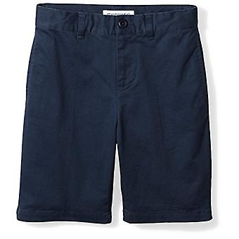 Essentials Little Boysă Flat Front Uniform Chino Short, Washed Navy,6