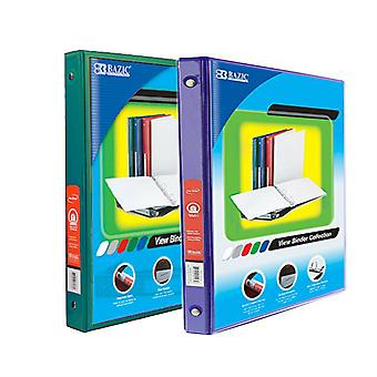 Combo26, BAZIC 1/2 Inch 3-Ring View Binder with 2-Pockets (Case pack of 24 consist 12-Green & 12-Purple)
