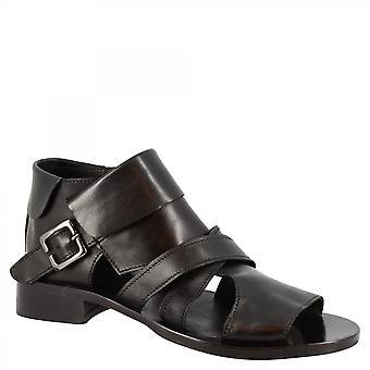 Leonardo Shoes Women's handgemaakte open teen laser gesneden enkellaarsjes in zwart kalfsleer