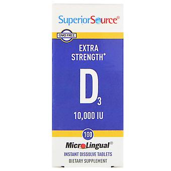 Superior Source, Extra Strength Vitamin D3, 10,000 IU, 100 MicroLingual Instant