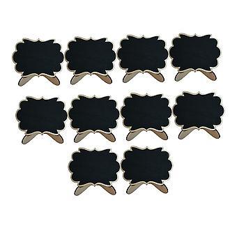 10PCS Artisanat en bois Mini Tableaux Noirs Forme de fleur