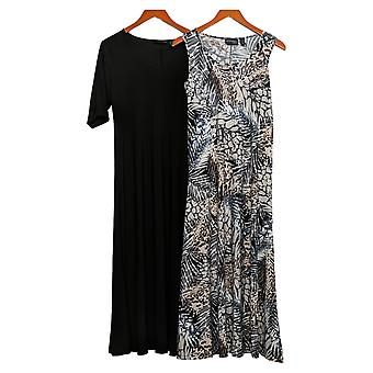 Attitudes by Renee Petite Dress Print & Solid Maxi Black A375422