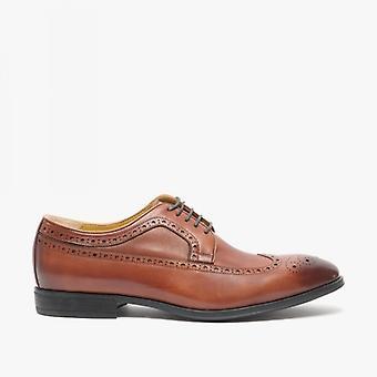 Steptronic Francis Mens Leather Wide Fit Brogue Shoes Cognac