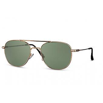 Okulary przeciwsłoneczne Unisex panto pełnoosciowy kot. 3 złoto/zieleń