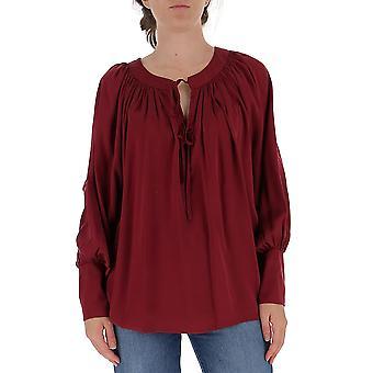 L'autre Koos B1520589004u490 Women's Burgundy Cotton Blouse
