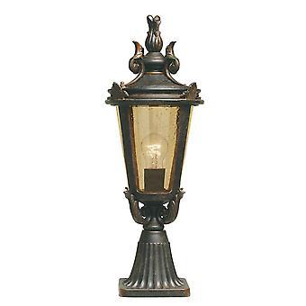 1 Light Medium Outdoor Pedestal Lantern Weathered Bronze IP44, E27