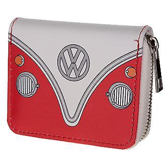 VW autocaravana T1 bolso pequeño con cremallera rojo / blanco, impreso, 100% plástico
