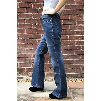 Hohe Taille Bootcut Jeans Stretch Denim Diamante Flares