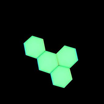 Green Led Honeycomb Quantum Hexagon Wall Lamp With Touch Sensitive - Decorative Night Light