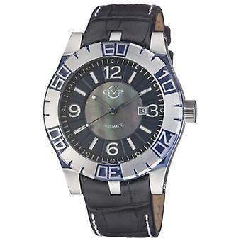 GV2 by Gevril Men's 8004 La Luna Automatic Black Leather Date Wristwatch