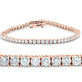 "4.49 Ct Diamond Tennis Bracelet 14K Rose Gold 7"""