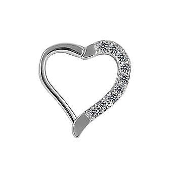 Micro Setting CZ Stone 16 Gauge -10MM Heart Cartilage Clicker Closure Cartilage Daith,Helix,Tragus Piercing Ring
