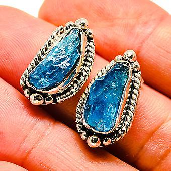 """Blue Fluorite Earrings 3/4"""" (925 Sterling Silver)  - Handmade Boho Vintage Jewelry EARR407516"""