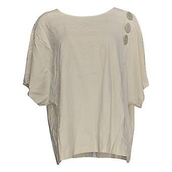 Truth + Style Women's Top Mixed Media With Button Detail Ivory A381302