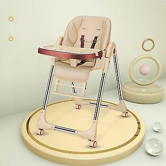 Folding Baby Dining/high Chair For Feeding With Four Wheel-dinning Table