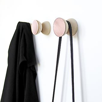 Geometric Beech Wood & Copper Wall Mounted Coat Hook / Knob